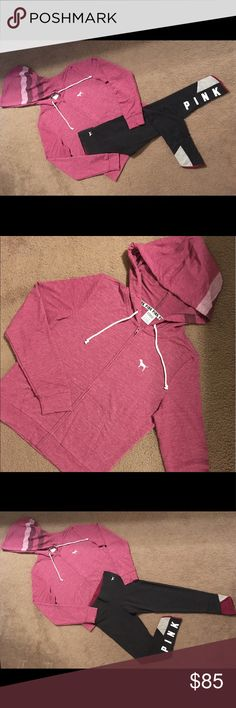 Victoria's Secret Pink Outfit Victoria's Secret Pink Outfit Cotton Ankle Leggings Pure Black/Raspberry Size XSmall Perfect Full Zip Hoodie Raspberry Size Small PINK Victoria's Secret Pants Leggings