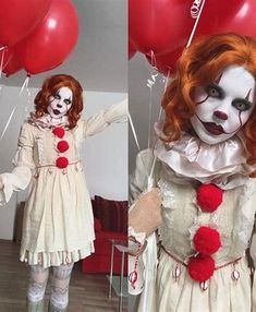 If seeing IT hasn't adequately horrified you from now till Halloween why not take on the infamous Pennywise as your costume for this year. The good news is, quick Pennywise Halloween costume suggestions is relatively simple. Halloween Clown, Pennywise Halloween Costume, Halloween Infantil, Halloween Costumes Women Scary, Clown Halloween Costumes, Pennywise The Clown, Halloween 2018, Halloween Cosplay, Costumes For Women