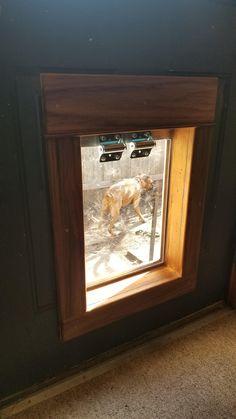 This is a dog door that I made out of an indestructible dog flap, and teak wood. Diy Doggie Door, Pet Door, Doggy Doors, Dog Door Flaps, Indoor Dog Gates, Dog Ramp, Bedroom Organization Diy, Dog Houses, House Dog