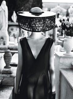 The Photos: Heavenly Creature - Dior virgin wool and silk toile dress. Alexander McQueen headpiece
