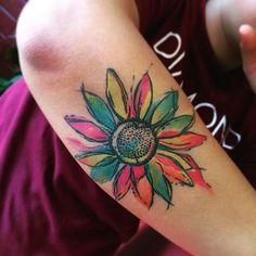 Tattoos, new tattoos, tattoos motive, life tattoos, small colorful tattoos Watercolor Sunflower Tattoo, Sunflower Tattoo Sleeve, Sunflower Tattoo Shoulder, Sunflower Tattoo Small, Sunflower Tattoos, Sunflower Tattoo Design, Watercolor Daisy Tattoo, Daisy Tattoo Designs, Watercolor Tattoo Shoulder