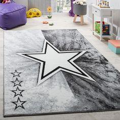 Teppich Kinderzimmer Stern Design Spielteppich Kinderteppich Kurzflor In Grau Kinderteppiche