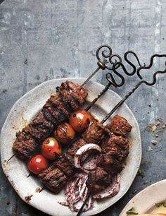 Real-deal Shish Kebab -- fancy but quick. You marinate everything ahead of time, and then it grills up in 5 minutes.