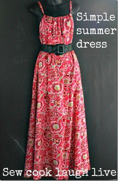 one long piece like you would mk a pillow case dress, same way and add ur belt. I use a flat sheet for a lot of material cheap. Find nice patterns too.