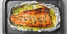Baked honey cilantro lime salmon in foil is cooked to tender, flaky perfection in just 30 minutes with a flavorful garlic and honey lime glaze. Salmon In Foil Recipes, Fish Recipes, Seafood Recipes, Dinner Recipes, Cooking Recipes, Healthy Recipes, Salmon Foil, Lime Cilantro Salmon, Salmon With Honey Glaze