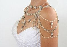 Bridal Necklace For The SHOULDERS,Victorian Style,Beaded Pearls And Rhinestone,OOAK Bridal Jewelry,Wedding Jewelry,Vinta