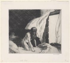Evening Wind    Artist: Edward Hopper (American, Nyack, New York 1882–1967 New York)  Date: 1921  Medium: Etching  Dimensions: Plate: 6 15/16 x 8 1/4 in. (17.6 x 21 cm)  Sheet: 9 7/16 x 10 5/8 in. (24 x 27 cm)