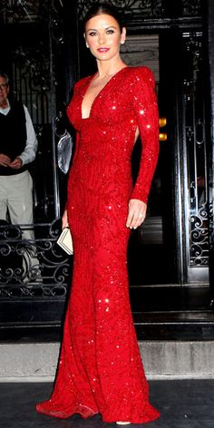 JUNE 2011 Catherine Zeta Jones WHAT SHE WORE Sparkled At The Tony Awards In A Beaded Elie Saab Gown Jimmy Choo Sandals And Van Cleef Arpels