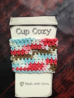 Brown White Blue Pink Crochet Coffee Cup Sleeves Reusable Washable Coffee To Go, mason jar cosy, Crochet Cup Cozy, Latte Cozy, Coffee Cozy