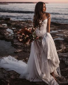 Off-the-shoulder and delicate, our is a flirty and fun A-line princess wedding dress made of sheer French lace and with a detachable tulle skirt. Wedding Dresses For Girls, Bridal Dresses, Wedding Gowns, Girls Dresses, Bohemian Beach Wedding Dress, Boho Wedding, Off Shoulder Wedding Dress, A Line Gown, Gowns With Sleeves