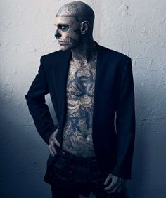 Skeletal Tattooed Editorials - Rick Genest Poses for Vogue Hommes Japan Spring/Summer 2011 (GALLERY)
