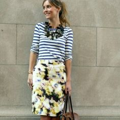 striped shirt, floral print pencil skirt, fabric necklace