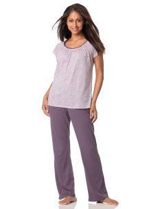 Motherhood Maternity Short Sleeve Scoop Neck Nursing Pajama Set