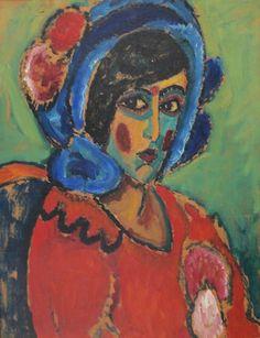Alexej von Jawlenski, Dame mit blauem Hut, 1912/13