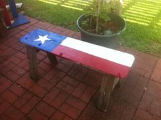 Old carpenter's work stool becomes Texas flower pot stand.