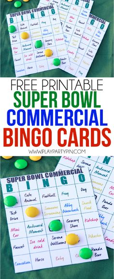 Super Bowl party games? These free printable Super Bowl bingo cards ...
