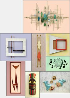 """Mid-20th Century, a modern, more-or-less abstract """"wall decor"""" emerged. These items were typically made of wood, wire, ceramic, or metals, or some combination thereof."""