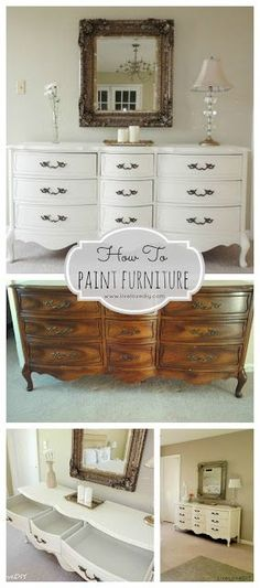 How To Paint Furniture: Great tutorial anyone can use to update old furniture! How To Paint Furniture: Great tutorial anyone can use to update old furniture! Furniture Projects, Furniture Making, Home Projects, Furniture Redo, Furniture Design, Furniture Vanity, Furniture Refinishing, Furniture Stores, Wood Vanity