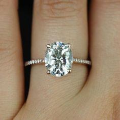 Blake 14kt Rose Gold Oval FB Moissanite and Diamonds Cathedral Engagement Ring (Other metals and stone options available)