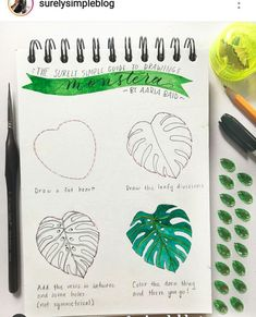 Flowers & Mandala in Ink How to Draw // Monstera Delicious Plant- step by step on how to draw this!How to Draw // Monstera Delicious Plant- step by step on how to draw this! Leaf Drawing, Plant Drawing, Drawing Tips, Drawing Drawing, Watercolor Projects, Watercolor Plants, Watercolor Art, Monstera Deliciosa, Plant Painting