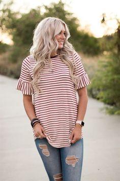 Stripe Bell Sleeve Top   Jane