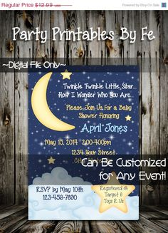 ON SALE Printable Baby Shower Invitation ~ Twinkle Twinkle Little Star Baby Shower Vertical~ I128