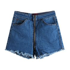 Cropped Denim Shorts with Zip Open Front ($25) ❤ liked on Polyvore featuring shorts, black, short jean shorts, zipper shorts, pocket shorts, black denim shorts and zipper pocket shorts