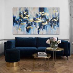 Blue And Gold Living Room, Blue Living Room Decor, Living Room Designs, Blue Home Decor, Navy Blue Rooms, Navy Walls, Room Color Schemes, Room Colors, Blue Artwork
