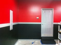 Red And Black Garage Interior Paint With White Center Strip Of Color