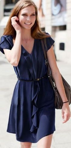 Navy Sleeveless Ruffles Drawstring Pleated Dress - Sheinside.com