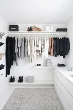 The clothes rack will look like this as I want an open layout for my walk in. This will be at the side of my room. The entire left side will be for hanging clothes.