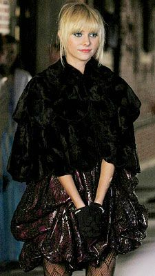 Gossip Girl Season Two: Get the Look  Episode 212: It's a Wonderful Lie  Jenny wears an original Eric Daman dress, Anna Sui wrap and Lacrasia gloves to the ball.