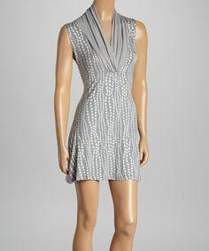 Love this Gray & White Dot Cowl Neck Sleeveless Dress on #zulily! #zulilyfinds