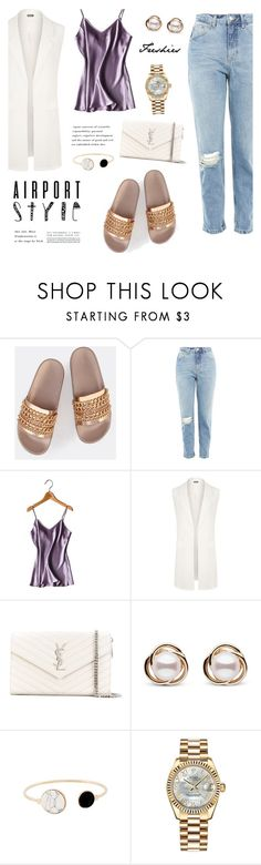 """Koko"" by nadialesa ❤ liked on Polyvore featuring Topshop, WearAll, Yves Saint Laurent, Trilogy, Rolex, silk, slippers, satin, airportstyle and sliders"