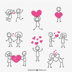 Stick figure couple in love Free Vector Doodle Drawings, Easy Drawings, Doodle Art, Love Doodles, Stick Figure Drawing, Sketch Notes, Scrapbook, Stick Figures, Sign Design