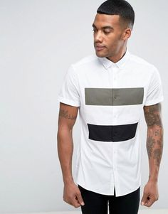 Find the best selection of ASOS Skinny Shirt With Cut And Sew. Shop today with free delivery and returns (Ts&Cs apply) with ASOS! Trendy Mens Fashion, Indian Men Fashion, Shirt Logo Design, Mens Designer Shirts, African Shirts, Men Style Tips, Shirt Style, Casual Shirts, Men Dress