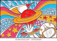 Hand drawn Pop Art Wallpaper , Mosaic Background Space Theme with Rocket and Spaceman, Spaceship & Colorful Abstract pattern