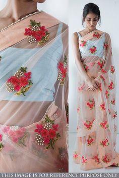 Shop Latest Designer Peach Net Saree With Banglori Silk Blouse - DMV15579 for women online  #Designersaree #peachnet #banglorisilk #partywearsaree #womenfashion #shoppingonline