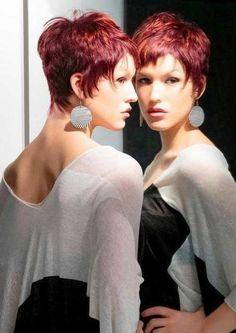 Short Razor Red Pixie Hair