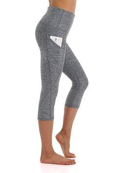 280ab31c8a4dd ZEROGSC Women s Yoga Pants - Workout Running Tummy Control Stretch Power  Flex Long Capris Leggings With Out Pockets (YPW112-Charcoal-Medium)