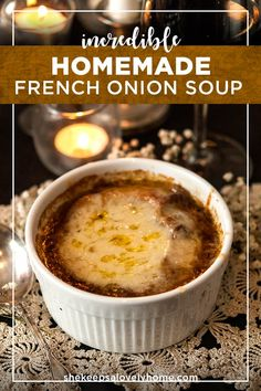 This homemade french onion soup recipe is quite rich not too sweet not too savory and sure to warm your chilly winter bones. In this recipe youll learn how to make this soup completely from scratch so youll have control over every heavenly flavor! Homemade French Onion Soup, Best French Onion Soup, French Soup, Panera French Onion Soup, Crockpot French Onion Soup, Homemade Soup, Onion Soup Recipes, Best Onion Soup Recipe, Soup And Sandwich