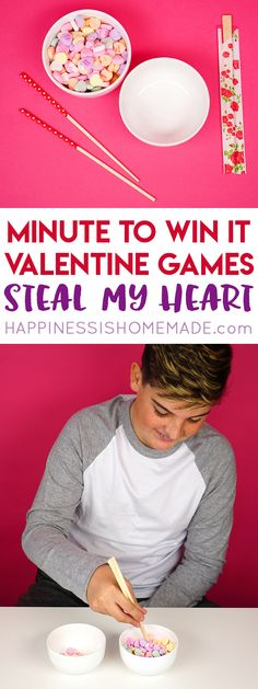 Valentine Minute to Win It Games - These Minute to Win It Valentine Games will be the hit of your Valentine's Day party! Valentine Minute to Win It Games for kids and adults – everyone will want to play! These Valentine games are perfect for all ages – challenging enough for older kids and adults, but still simple enough that younger children can join in the fun!