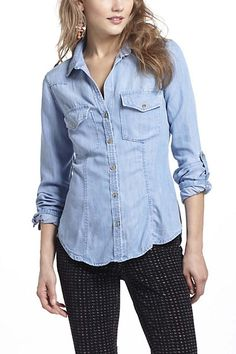 Fitted Chambray Buttondown #anthropologie