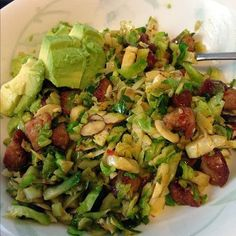 chorizo brussels sprouts slaw, chorizo brussels sprouts with avocado, almond and cranberries