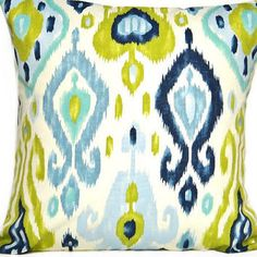 Blue Ikat Pillow Cover Chartreuse Green Turquoise Beige Decorative 18x18