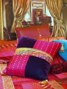 Custom made cushions from sari fabric and original paintingt available through www. Cushion Cover Designs, Cushion Covers, Pillow Covers, Diy Pillows, Throw Pillows, Camping Pillows, Reuse Old Clothes, Patchwork Pillow, Sari Fabric
