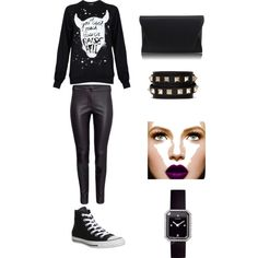 A fashion look from March 2015 featuring Black Score sweatshirts, Converse sneakers and Chanel watches. Browse and shop related looks.