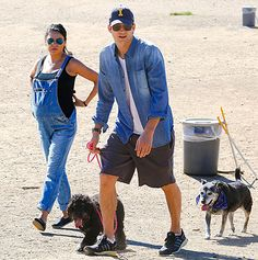 Mila Kunis wore trendy overalls at a dog park with Ashton Kutcher in L.A.