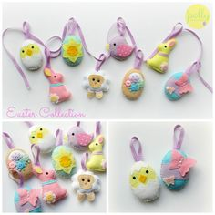 Felt Easter Collection. Handmade set of 8 Easter decorations.