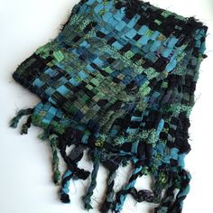 Another kind of sakiori scarf. Check out the web site for close-ups. Weave a variety of silk fabrics/ribbons and stitch!